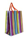 Colorful striped shopping bag Royalty Free Stock Photo