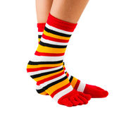 Colorful striped socks isolated Royalty Free Stock Photography