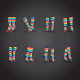 Colorful striped socks Royalty Free Stock Images