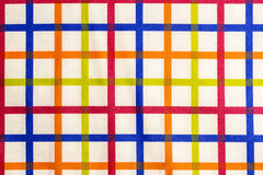 Colorful striped tablecloth royalty free stock image