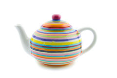 Colorful striped teapot Stock Photo