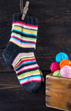 Colorful striped woolen socks Royalty Free Stock Photography