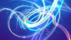 Colorful stripes in the blue background. A wonderful 3d illustration of colorful rainbow stripes forming funny and wavy turns and loops in the blue background stock illustration