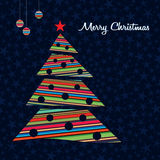 Colorful stripes Christmas tree background. Stock Photo