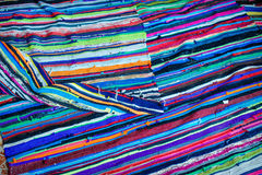 Colorful stripes on linen textile Royalty Free Stock Photography