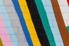 Colorful stripes painted on wall Stock Images