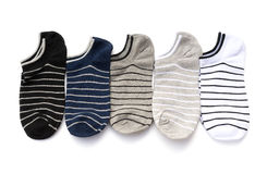 Colorful stripes socks line up on white background with clipping path Stock Images