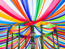Colorful stripes in Tak Bat Devo Festival, Uthaithani, Thailand Royalty Free Stock Images