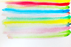 Colorful stripes watercolor paint on canvas. Super high resoluti Royalty Free Stock Image