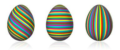 Colorful stripped easter eggs Royalty Free Stock Photos