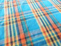 Colorful stripped pattern with fabric texture background. Close up to colorful stripped pattern with fabric texture background Royalty Free Stock Photos