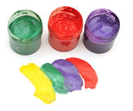Colorful stroke with opened paint buckets Stock Photography