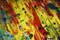 Colorful strong vivid energetic golden spots texture paint watercolor spots Royalty Free Stock Images