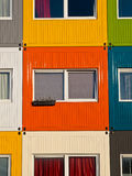 Colorful student housing. In stacked transport containers Stock Photography