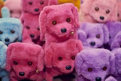 Colorful stuff dogs made in Asia royalty free stock image