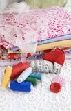 Colorful stuff for sewing at home Stock Images