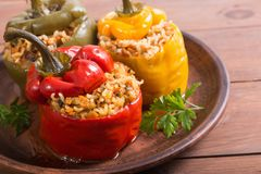 Colorful stuffed peppers. With rice , meat and parsley stock images