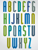 Colorful stylish narrow font, rounded upper case letters. Royalty Free Stock Photos