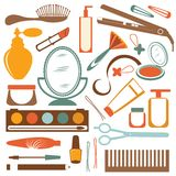 Colorful stylish set of make up elements Royalty Free Stock Image