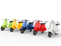 Colorful stylish vintage scooters Stock Photos