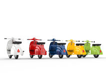 Colorful stylish vintage scooters Royalty Free Stock Image