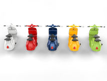 Colorful stylish vintage scooters - top rear view Royalty Free Stock Image