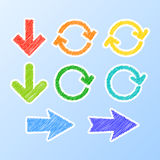 Colorful stylized arrows. Set of colorful stylized scribble arrows. Vector illustration Stock Images