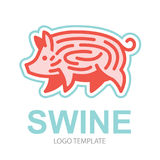 Colorful stylized drawing of pig. Swine - for icon or sign template Stock Photos