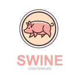 Colorful stylized drawing of pig. Swine - for icon or sign template Royalty Free Stock Photo