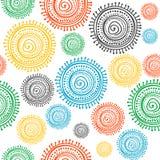 Colorful stylized ethnic sun seamless Stock Photography