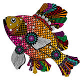 Colorful stylized fish in red, pink and orange tones.  Royalty Free Stock Images