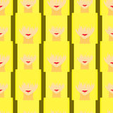 Colorful stylized girl with face covered long bangs. Noface woman seamless pattern Royalty Free Stock Photos