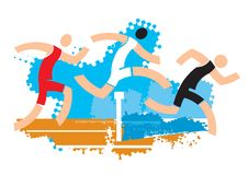 Runners on water ditch hurdle. Colorful stylized illustration of racers jumping over water ditch hurdle. Vector available Stock Images