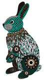 Colorful stylized rabbit in black, green and brown tones.  Stock Images