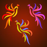 Colorful stylized roosters Stock Image