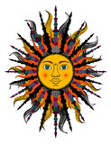 Colorful stylized sun. Bitmap in cheap popular style. Stock Photography