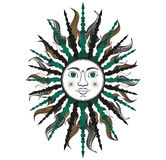 Colorful stylized sun in green and black colors. Stock Photo
