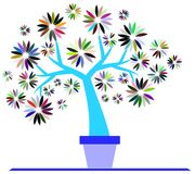 Colorful  Stylized tree isolated Royalty Free Stock Photography