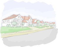 Colorful suburb neighborhood Royalty Free Stock Images