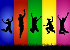 Colorful Success. An illustration of different silhouettes expressing success and joy Stock Image