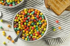 Colorful Sugar Breakfast Cereal. With Milk and Toast stock photo