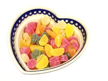 Colorful sugar sweets in a heart Stock Image