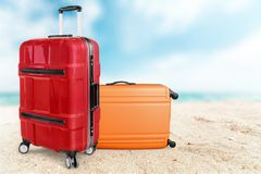Beautiful Colorful suitcases on background Stock Images