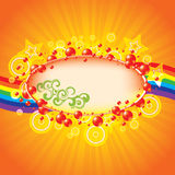 Colorful summer background. With bubbles and rainbow Stock Image