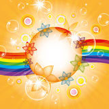 Colorful summer background. With bubbles and rainbow Royalty Free Stock Image