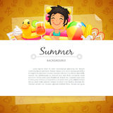 Colorful Summer Background with Girl on Swim Royalty Free Stock Images