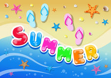 Colorful Summer Background with Starfish and Mollusk Stock Photography