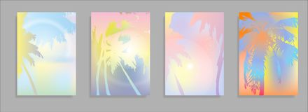Colorful Summer banners, tropical backgrounds set with palms, leaves, sea, clouds, sky, beach colors. Beautiful Summer. Time cards, posters, flyers, party Royalty Free Stock Images
