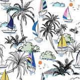 Colorful Summer Beautiful seamless pattern island with boat and royalty free illustration