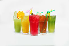 Colorful summer cocktails stock image